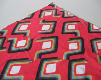 Over 2 yards slinky mod graphic angular print red black yellow brown blue vintage fabric