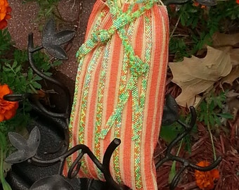 Drawstring Beadwoven Bag in Citrus and Melon, The Perfect Present