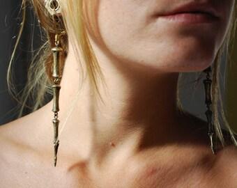 Dangle Earrings - Horse Tail Bone Earings - Brass Chain Earrings - Boho Earrings