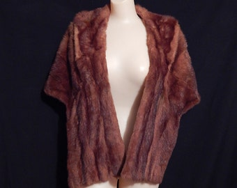 Large classy 40's 50's mink stone marten brown real fur bombshell atomic stole cape jacket with pockets burgundy wine satin lining