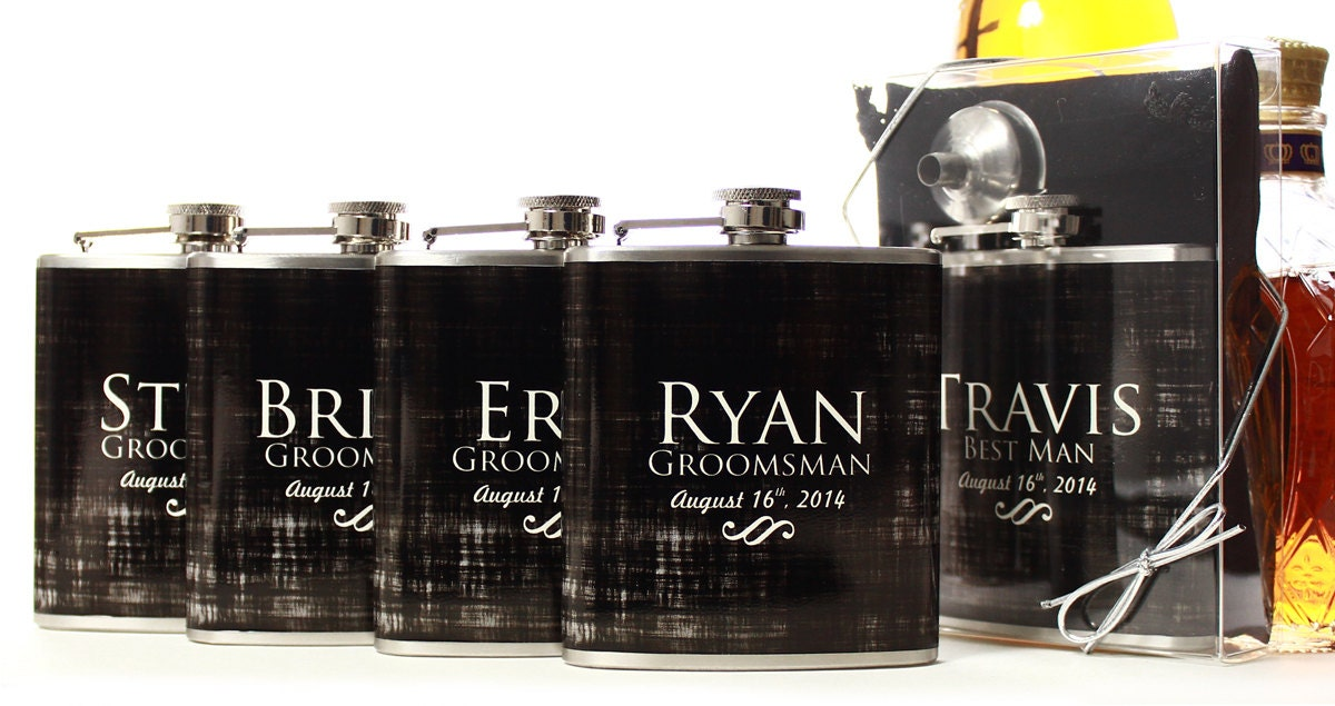 Wedding Party Gifts Groomsmen : Wedding Party Gifts Flasks for Groomsmen Custom Gifts for