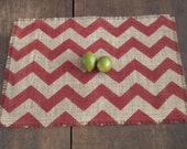 Burlap Placemats Burlap Grain Sack Chevron Placemats Zig Zag Rustic Red/ Choice of Colors/ Set of Two Modern Place Setting