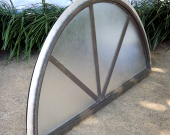 Large Architectural Window, Arched Palladian Window, Vintage Frosted Glass Window, Arch Fan Window