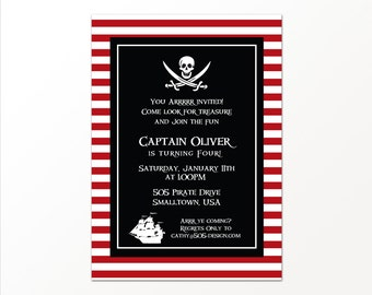 Pirate Party Invitation - Printable or Printed Pirate Invitation by 505 Design, Inc
