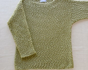 Organic Cotton Pullover Sweater Hand-knit in Sage