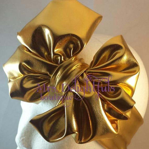 Gold messybow headbands