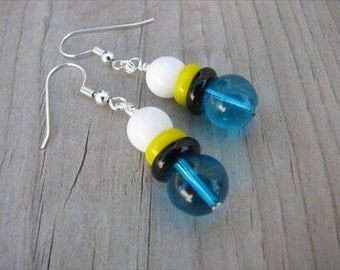 Turquoise Blue, Black, Yellow, and White Glass Beaded Earrings