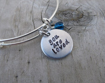 "You Are Loved Inspiration Bracelet- Hand-Stamped ""you are loved""- Bracelet with an accent bead in your choice of colors"