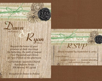 Rustic Wedding Invitation, Burlap and Lace Wedding Invitation, Wood Wedding Invitaiton, Country Wedding Invitation,Custom