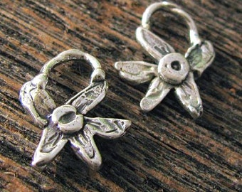 2 Whimsical Flower Charms - Artisan Handcrafted in Sterling Silver - Small Posies AC133