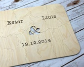 130 pc Custom Wedding Guest Book Puzzle, guestbook alternative, wedding AMPERSAND puzzle guest book, Bella Puzzles™ rustic bohemian wedding