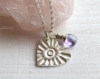Silver Heart Necklace With Amethyst Charm, Wire Wrapped Amethyst Necklace, Heart Pendant