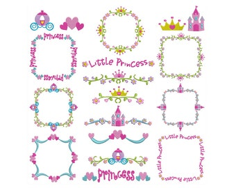 PRINCESS BORDERS - Machine Filled Embroidery - Instant Digital Download