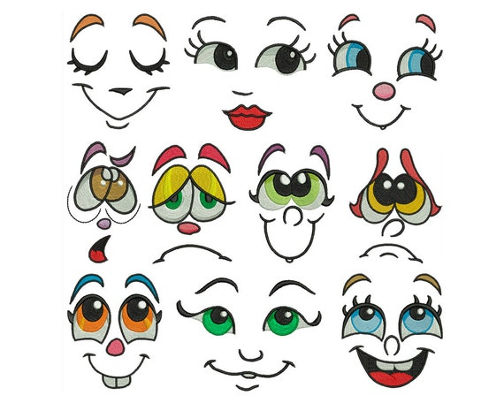 Funny faces machine embroidery instant digital by