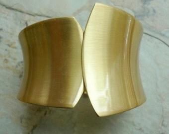 Asymmetric Gold Cuff, wide cuff, statement bracelet, chunky gold plated cuff, modern bracelet, gold plated jewlery, wide curved bracelet