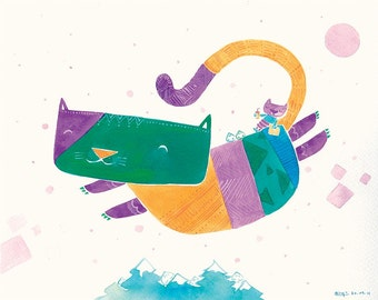 Watercolor Cat Print - Kids Wall Art, Children Print, Kids Wall Decor, Nursery Decor, Flying Cat