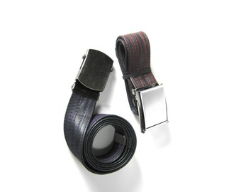 Summer Sale! 15% off - SLIDE BUCKLE Upcycled Vegan Bike Tube Belt with Red Thread