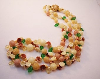 Western Germany flower bead necklace double strand with glass and plastic beads