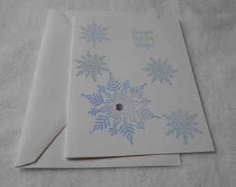 Handmade Christmas card, hand stamped Warmest Wishes Snowfake holiday card with blue snowflake design, perfect for holiday/winter greetings