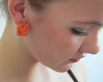 Orange Sherbet Crocheted Rose Earrings