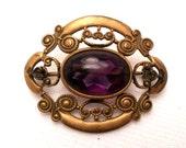 Antique Victorian Sash Pin Brooch Purple Glass Stone C Catch