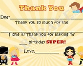 Superhero Thank You Card, Note Card, Fill-in - DIY Print Your Own