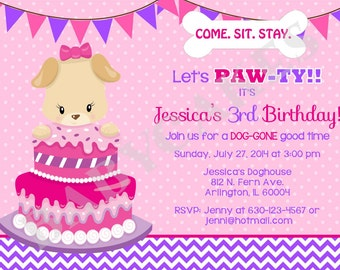 Puppy Birthday Invitation puppy pawty puppy invite puppy birthday party invitation printable pink purple DIY