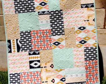 Southwest Tribal Girl Baby Quilt, Modern Bedding, Crib Cot Nursery, Aztec Arizona Art Gallery Fabrics, Coral Mint Green