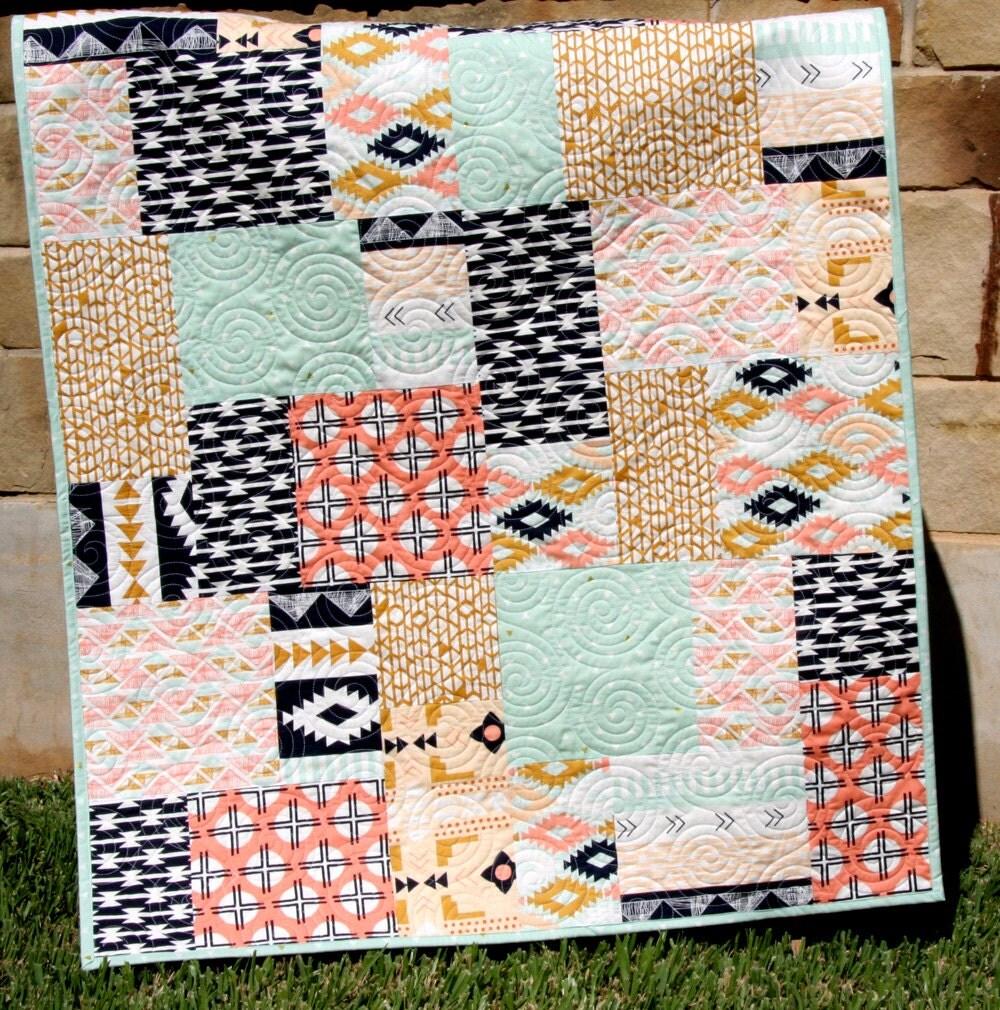 Modern Nursery Quilt Patterns : Southwest Tribal Girl Baby Quilt Modern Bedding Crib Cot