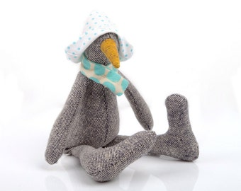 Baby bird chick , SMALL duck doll made from gray woven silk with mustard beak , turquoise aqua polka dots scarf and hat - eco handmade toy