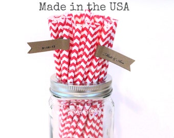 25 Red Paper Straws, Red Chevron Striped Paper Straws, Rustic Wedding, Cake Pop Sticks, Vintage Baby Shower, Party  Supplies, Made in USA