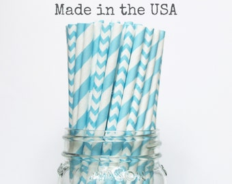 Paper Straws, Aqua Blue Paper Straws Stripe Chevron, Vintage Wedding Table Setting, Baby Shower, Kids Birthday Party Supplies Straws, USA