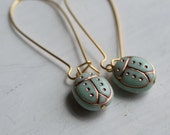Ladybug Ladybird Earrings ... Turquoise Seafoam Vintage Glass
