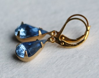 Sapphire Blue Vintage Earrings ... French Blue Vintage Jewel