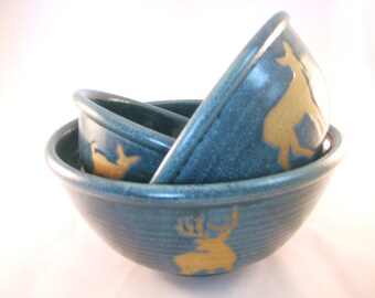 Deer Buck, Doe and Fawn Silhouette Stack Serving Bowls - Nesting Stackable Mixing Set - Teal Handmade Pottery