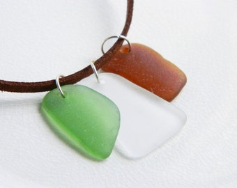 Suede Leather Necklace, Sea Glass Pendants, Fall Colors, Green, Brown, White Beach Glass