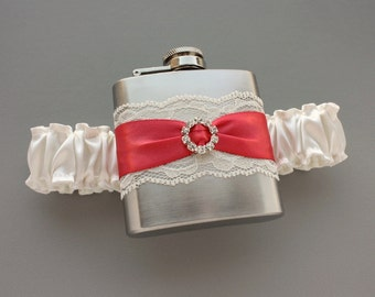 Ivory & Coral FLASK GARTER - Wedding Garter with Flask - Bridal / Bridesmaid Gift - Coral Wedding - Ready to Ship