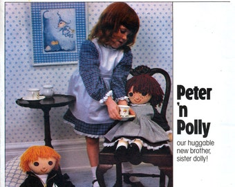 Vogue 2036 Vintage 80s Peter and Polly Dolls Craft Sewing Pattern - Uncut