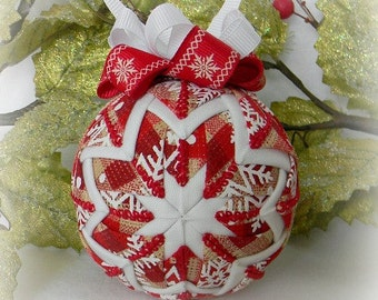Quilted Christmas Ornament Snowflake Ornament Decoration red white