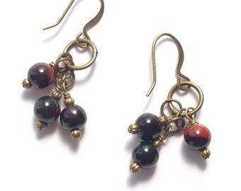 Black & Red Agate Gemstones, Wire Wrapped Brass Bronze Antique Gold Dangle Earrings