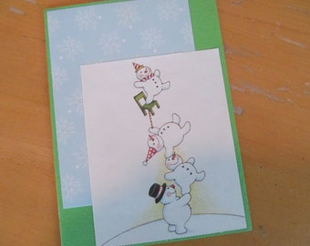 Winter and/or Christmas Card -- Green, snowmen, Mary Engelbreit