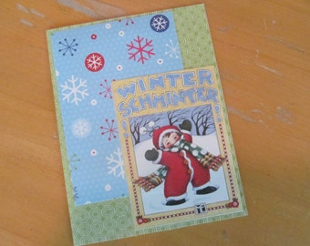 Winter or Christmas Card -- Mary Engelbreit upcycled Winter Schminter