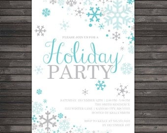 Winter Holiday Party Invitation - Aqua Blue Silver Winter Wonderland Invitation Printable - Snowflake Party Invite - Snowflake Invitation