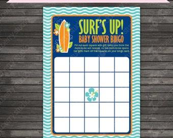 Surfer Baby Shower Bingo Game - Surf Baby Shower Games - Boy Baby Shower Games - Navy Blue Aqua Printable Bingo Game - Instant Download