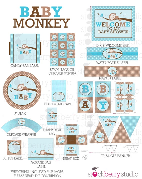monkey baby shower decorations printable instant download boy baby