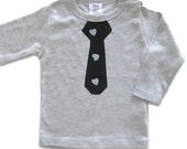 Boys Valentine's Day Shirt, Black tie on Grey t-shirt