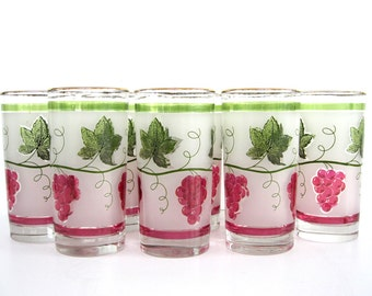 Vintage Glass Tumbler Set Libbey Party Time Largo Tea Glasses Frosted Red Purple Grape Leaf Wine Fruit Gift