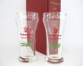 Vintage Budweiser Anheuser Busch Beer Glasses Christmas Barware Holiday Hops Weizen