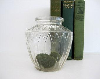 Vintage Glass Jar Vase Small Container Fairy Garden Terrarium Hazel Atlas