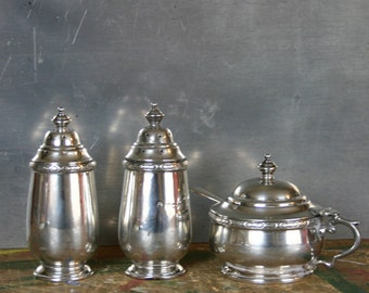 Solid Silver Condiment Set Sterling Silver English